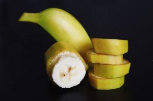 Hard-boiled eggs with banana