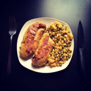 fried chicken with corn