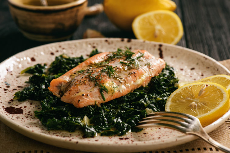 Spinach Salmon with Potatoes